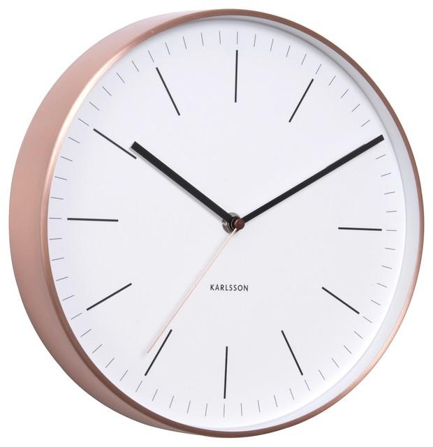 Karlsson Minimal Copper Clock White Modern Wall