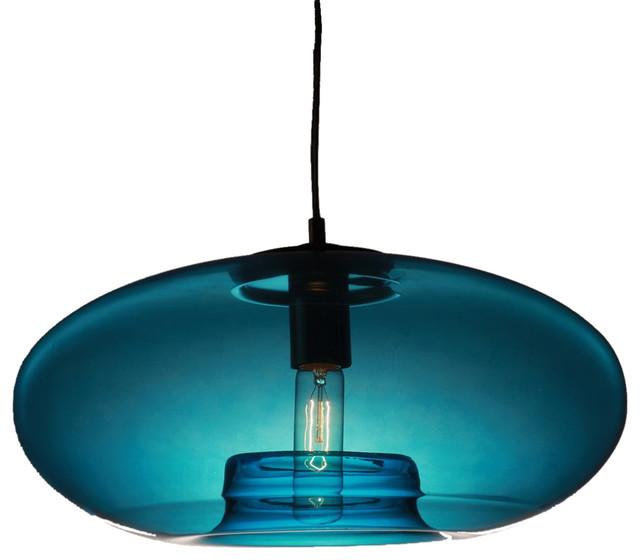 Vintage Style Glass Pendant Light Blue