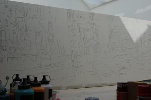 R alisation d 39 une peinture murale d corative dans un loft for Peinture decorative murale
