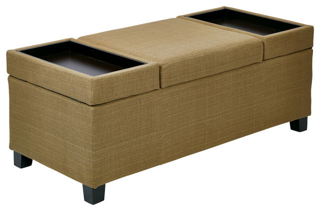 Geneva storage ottoman in woven seaweed fabric kd legs for Storage ottomans fabric