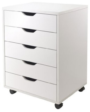 Halifax 5-Drawers Cabinet, White - Contemporary - Office ...