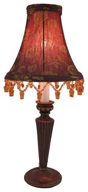 Small Candlestick Lamp With Bead Fringe Floral Fabric