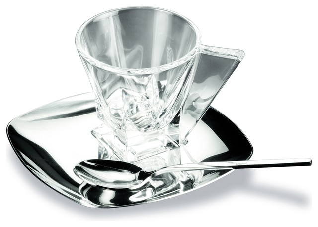 Crystal espresso cup with saucer and spoon modern for Tazzine caffe moderne