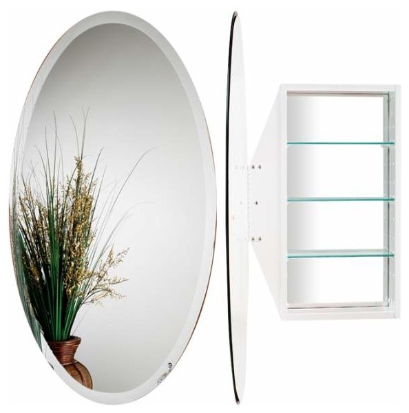 Alno Creations Oval Mirror Cabinet White Mc4910 W