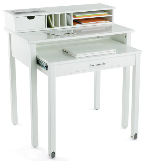 White roll out desk modern desks and hutches by the container store - Container store home office ...