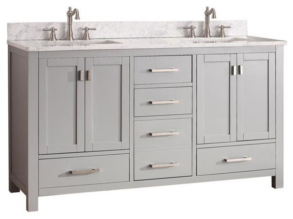 Double Vanity In Chilled Gray Finish Contemporary Bathroom Vanities And S