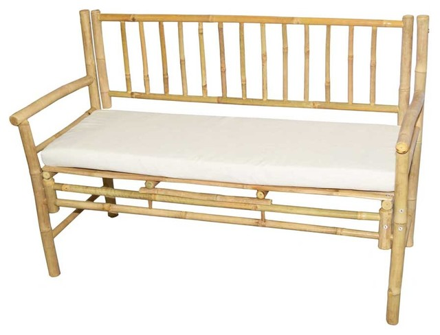 Bamboo bench with white cushion upholstered benches by bamboo54 White upholstered bench