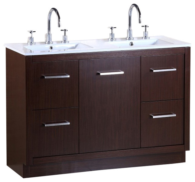 48 double sink vanity transitional bathroom vanities and sink consoles by bellaterra home Transitional bathroom vanities