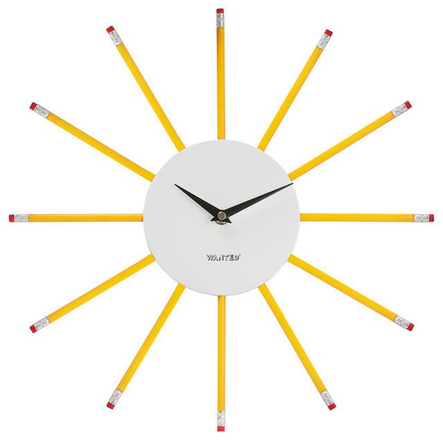 pencil yellow wall clock contemporary wall clocks by lldecor