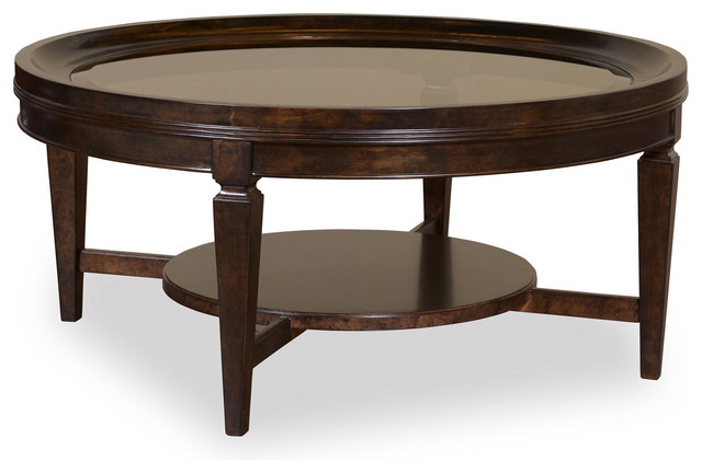 Classics Solar Bronze Wood Round Cocktail Table Contemporary Coffee Tables By