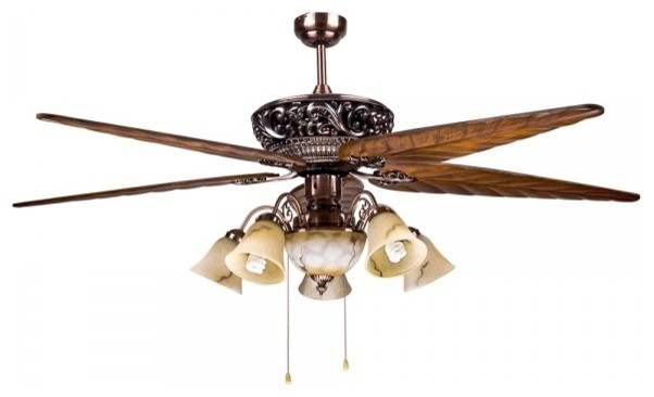 Large Tropical 5 Blade Ceiling Fan Light For Dining Room Traditional Ceil