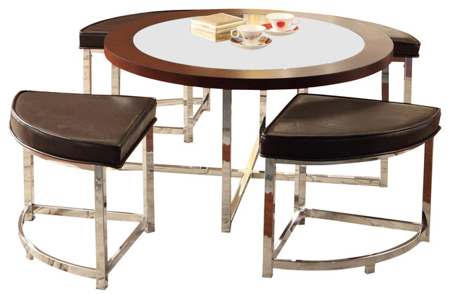 Homelegance Maine Round Cocktail Table With 4 Ottomans