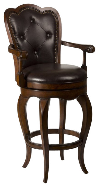 Hillsdale eastwind 26 swivel counter stool in dark cherry - Traditional kitchen bar stools ...