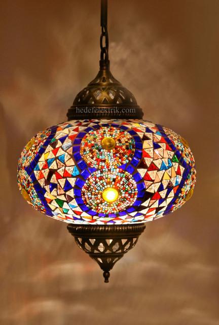 Turkish Style Colourful Mosaic Pendant Lamp 22 Cm