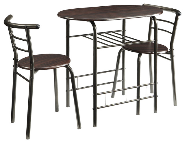 Small casual industrial 3 piece dining set table with open for Small casual dining sets