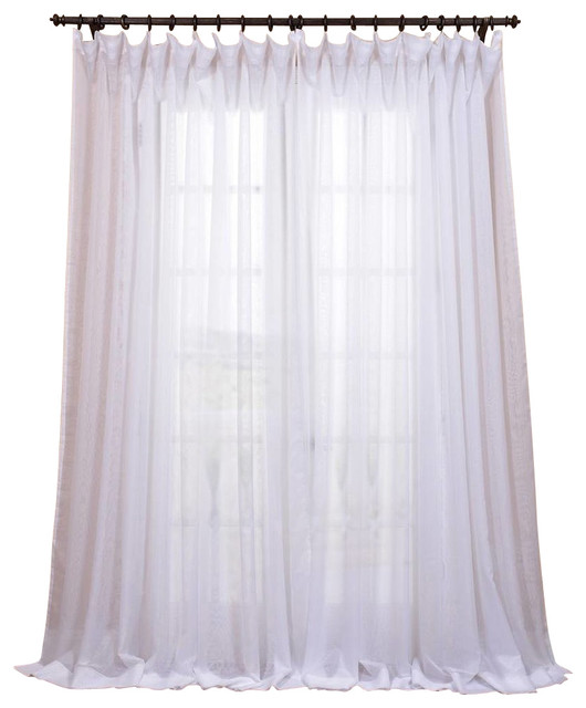 signature double wide white sheer curtain single panel 100 x84 contemporary curtains by. Black Bedroom Furniture Sets. Home Design Ideas