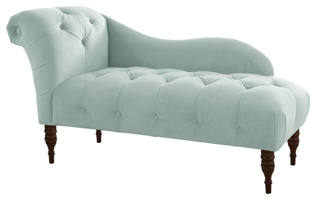 Frances tufted chaise light blue velvet contemporary for Blue chaise lounge indoor