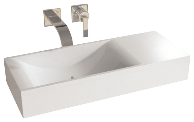 Adm White Countertop Solid Surface Sink Matte Contemporary Bathroom Sinks