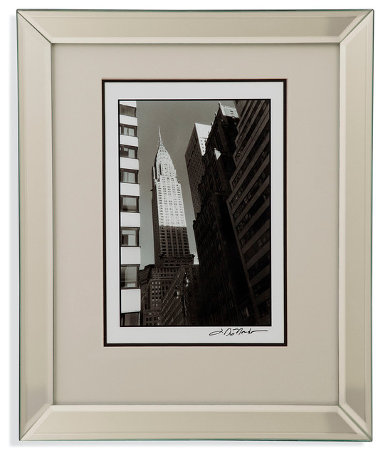 Wall Art Glass Framed : Bassett mirror framed under glass art chrysler building