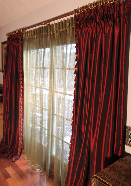 Burgundy Taffeta Drapes Discontinued Collection