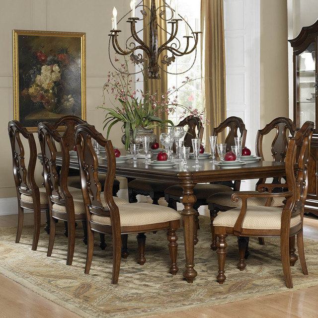 piece extension dining room set in warm brown traditional dining