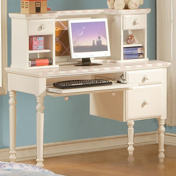 Acme furniture zoe white student computer desk with hutch 11044 11045 contemporary home - Home office furniture salt lake city ...