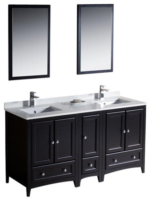 60 espresso double sink vanity w side cabin cascata
