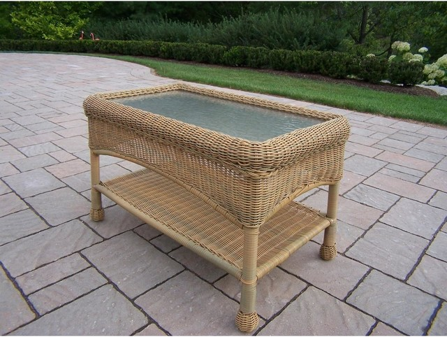 Oakland Living Resin Wicker Patio Coffee Table With Glass Top Honey Modern Outdoor Coffee