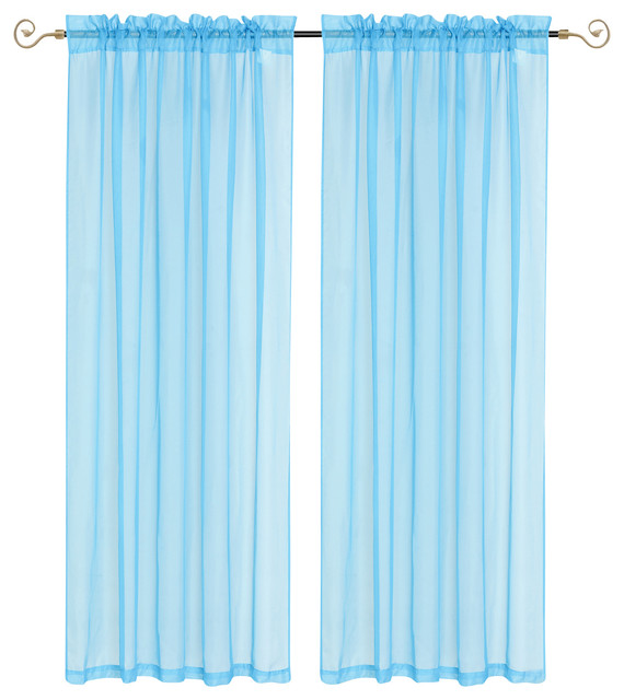 Lisa Sheer Curtain Panel 2-Pack, Blue - Modern - Curtains - by Kashi ...