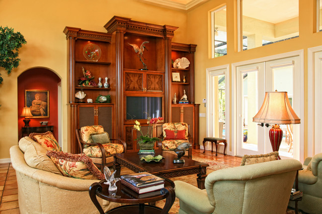 Traditional Living Room With Beautiful Wood Built In Traditional Living R