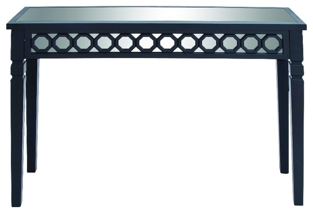 Wood console table mirrored top black foyer furniture for Black and mirrored console table