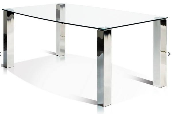 Glass Top Stainless Steel Dining Table Modern Dining Tables