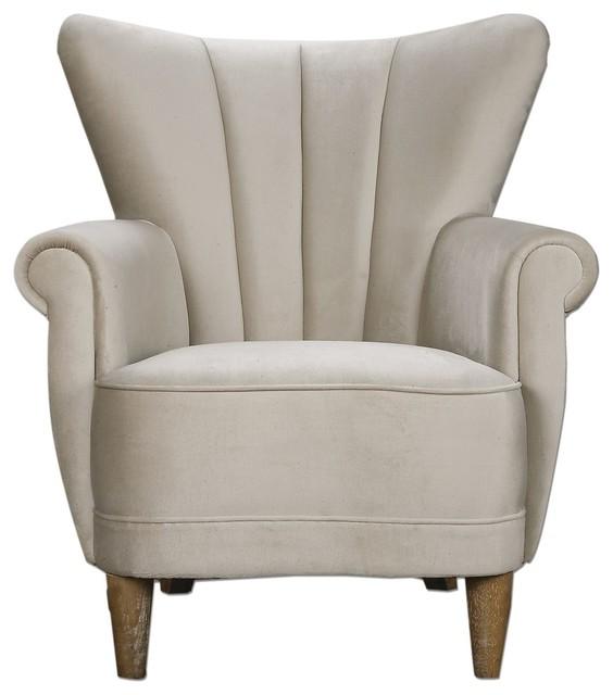 Retro Modern f White Velvet Wing Chair Traditional