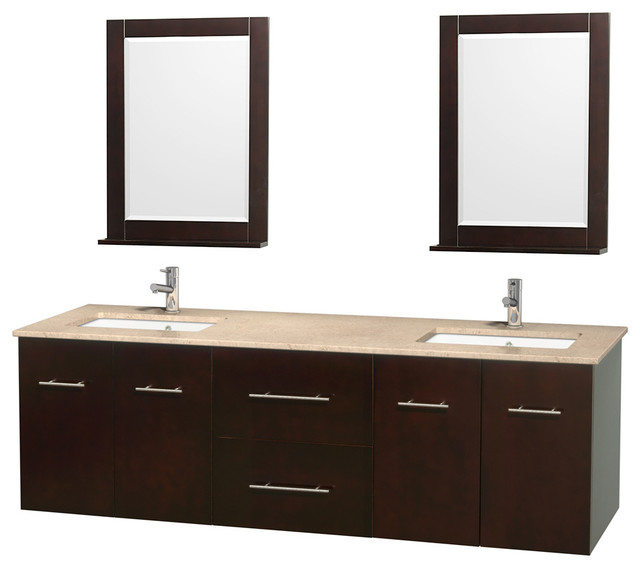Centra 72 espresso double vanity ivory marble top for Marble top console sink