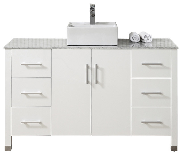 55 Modern Single Vessel Sink White Vanity Cabinet Modern Bathroom Vanities And Sink