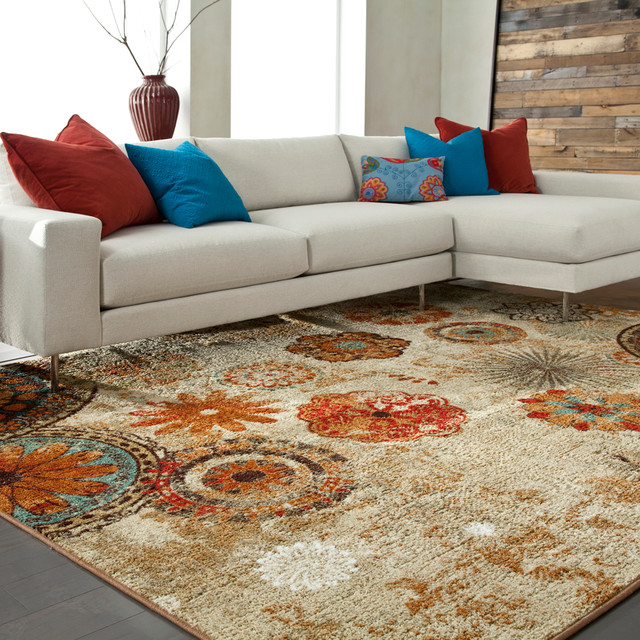 8x10 Indoor Outdoor Area Rugs: Mohawk Home Caravan Medallion Rug