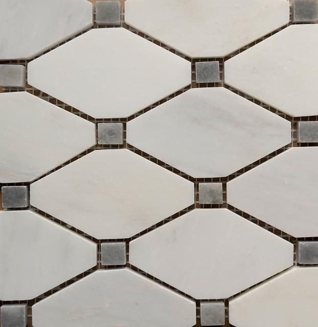 Carrara Dot Diamond Mosaic Tile White And Gray 1 X1