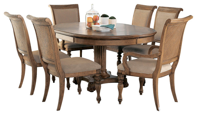 American Drew Grand Isle 7 Piece Round Dining Room Set In Amber Traditional