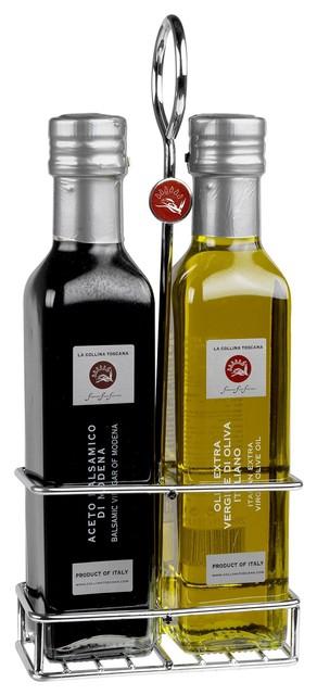 Duo support avec 2 bouteilles de 250ml huile d 39 olive et vinaigre balsamique contemporain - Huile et vinaigre ...