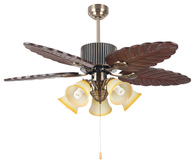 Traditional Bronze 4 Blades Ceiling Fan Light