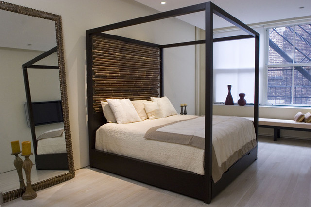 canopy bed with hand tied bamboo headboards moderne. Black Bedroom Furniture Sets. Home Design Ideas