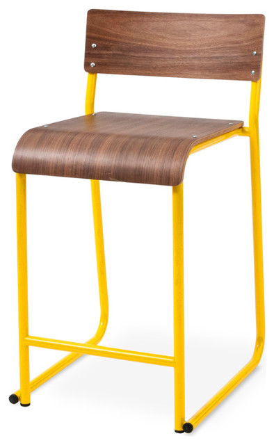 Church Stool By Gus Modern Canary Powder Coat Oak Natural