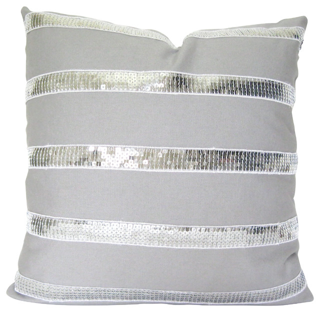 Decorative Pillow Trim : Gray Linen Pillow With Sequin Trim - Contemporary - Decorative Pillows - by Therese Marie Designs