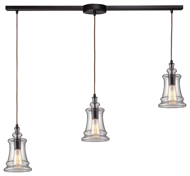 Elk Lighting 60042 3l Oiled Bronze Menlow Park Three Light Kitchen Island Fixtur Industrial