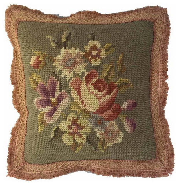 Victorian Outdoor Pillows : Vintage Floral Wool Needlepoint Pillow - Victorian - Decorative Pillows - by Pillow Talk