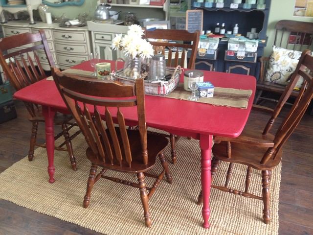 Red Kitchen Table Farmstyle Table Country Chic Farmhouse Dining Sets