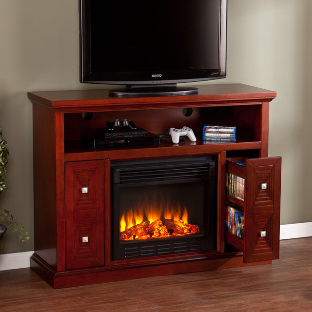 Upton home baxter cherry media console stand electric fireplace contemporary entertainment - Contemporary electric fireplaces entertainment center ...