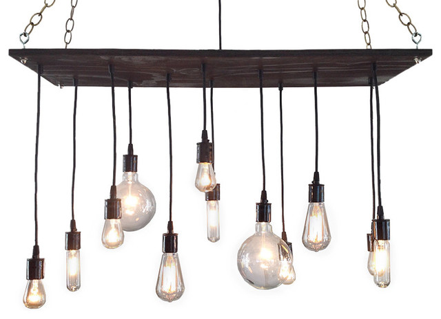 Rustic chandelier with edison bulbs oil rubbed bronze for Houzz rustic lighting