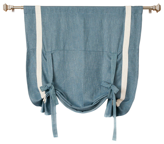 ... Heavyweight Faux Linen Grommet Top Curtain, Aqua traditional-curtains
