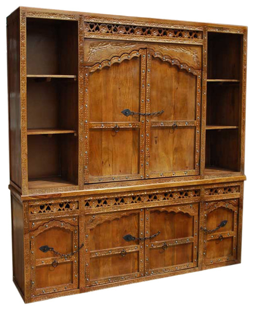 Solid Wood Hand Made Hand Carved Buffet & Large Hutch - Traditional - Buffets And Sideboards ...